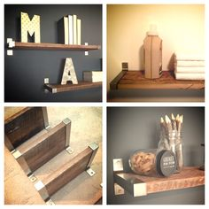 "11"" Depth Salvaged Barn Wood Shelving with Modern Metal Brackets by MidwestSalvageStudio on Etsy https://www.etsy.com/listing/189703856/11-depth-salvaged-barn-wood-shelving"