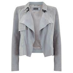 Buy Mint Velvet Suede Biker Jacket, Dove Grey Online at johnlewis.com
