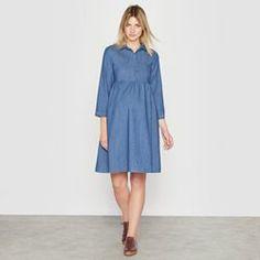 R Essentiel Womens Lightweight Denim Maternity Dress Dresses With Sleeves, Shirt Dress, Shopping, Long Sleeve, Casual, Shirts, Fashion, Dress Ideas, Dress Shirt