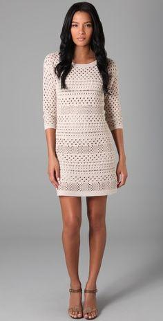 Tibi - Crochet 3/4 Sleeve Dress