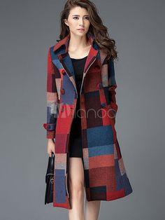 Double Breasted casaco xadrez de estilo britânico clássico - Milanoo.com