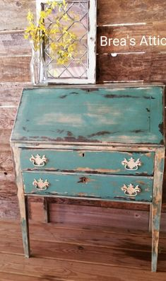 Painted Antique Secretary. Turquoise, white, brown and antiqued. Highly distressed.