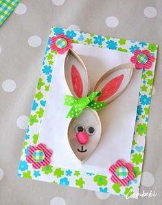 diy card-rabbit-Easter-recup-Creamalice - Ostern - Crafts Home Bunny Crafts, Easter Crafts For Kids, Toddler Crafts, Diy For Kids, Diy And Crafts, Arts And Crafts, Paper Crafts, Easter Art, Easter Bunny