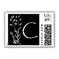 C Monogram (Black Lavender Plant) Stamp