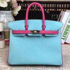 60215e60f2 Hermes Original Multicolor Togo Leather Birkin 25 30 35 Handbag Light  Blue Rosy