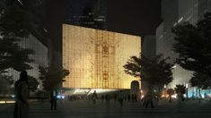 REX Reveals Design of Perelman Performing Arts Center at WTC in New York,South Night View. Image © Luxigon