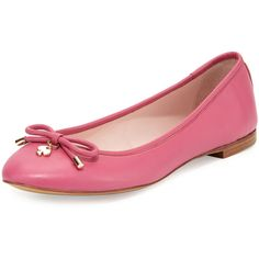 kate spade new york willa classic leather ballerina flat ($210) ❤ liked on Polyvore featuring shoes, flats, sapatos, deep pink, ballerina shoes, kate spade shoes, slip on shoes, bow ballet flats and round toe flats