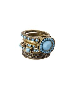 Another great find on #zulily! Gold & Blue Faceted Ring Set by Lux Accessories #zulilyfinds
