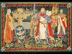 """King Arthur  tapestry: THE FAMOUS BRITISH KING ARTHUR AIN'T BRITISH AT ALL BUT HE IS THE ONE GAVE THE NAME: """"british"""" Hahahaha!"""