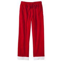 Red With White on Bottom-Men's Santa Plush Sleep Pants - Red