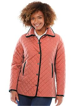 bab5f99034f24  48.99 - Women s Plus Size Light Quilted Snap-Front Jacket Back hem slits  28