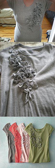 Украшаем трикотажную блузку своими руками.