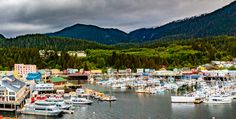 Ketchikan, AK, USA - May View of the boat harbor and , Image Of Fish, Fishing Charters, Fishing Guide, Fabric Wall Art, Easy Install, Editorial Photography, Wall Murals, Alaska, Vancouver