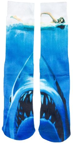 ODD SOX JAWS SOCKS Get out of the water...you have your socks on silly! These Jaws tube socks from Odd Sox are made of a poly blend material and feature a ribbed elastic cuff, full graphic print, and ribbed heel for a tight and secure fit. $14.00 #oddsox #socks #jaws