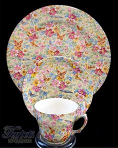 Wade Butterfly Chintz Antique Tea Cup, Saucer & Plate Trio