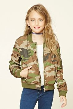 Forever 21 Girls - A slightly padded woven bomber jacket featuring an allover camo print, a zippered button-down front, front zippered slanted pockets, long sleeves with one zipper and pen pocket, contrasting ribbed knit trim, and a contrasting interior lining.