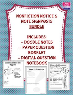New product posted to my Teachers Pay Teachers store! Notice And Note, Note Paper, My Teacher, Booklet, Nonfiction, Coding, Notes, English Class, This Or That Questions