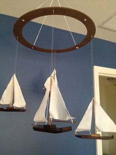 Wooden Nautical Sailboat Mobile by FlutterBunnyBoutique on Etsy, $70.00