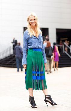 denim chambray shirt + green midi skirt