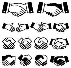 Handshake Agreement business meeting royalty free vector icon set vector art illustration
