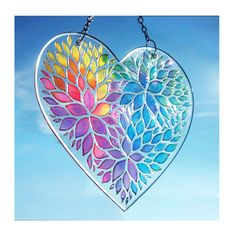 Hand painted glass Rainbow Heart, Valentines Day gift, Window Hanging Gift, stained glass suncatcher, heart suncatcher, painting on glass