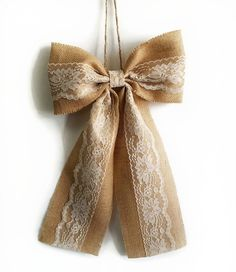 Pew Bows Burlap and Lace Bow Rustic Wedding Decor Burlap