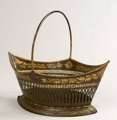 Regency Period Painted Tole Basket with Pierced and Gilded Decoration, circa 1800