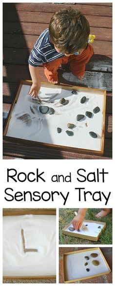 Sensory Play Activity for Toddlers, Preschool, and Kindergarten: Salt Tray with Rocks! Use it for fine motor practice, spelling or letter writing skills. ~ BuggyandBuddy.com