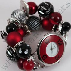 Shabby Chic Crimson Tide Chunky Red Black and by WhichWatchDesigns, $20.00
