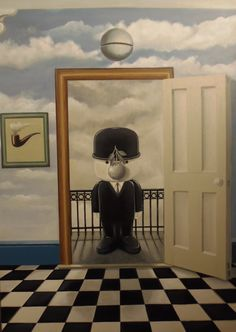 Entitled 'Is There Anybody In There'. Painted with Acrylic on canvas this painting is a celebration of everything Magritte with a touch of 'Fred' The pipe picture on the wall, the silver bell above the doorway, The apple, The railings, Checked floor and of course the blue sky full of fluffy white clouds, all feature in many of Magritte's paintings. The title came to me while I was painting listening to Pink Floyd hence 'Is there anybody in there?'