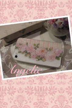 【iPhoneケース】(プラスチックにする技法、アンダーグラスの技法)お気に入りのレターセットの絵柄を使ってiPhoneケースにデコパージュしました。@ちゃちゃ丸