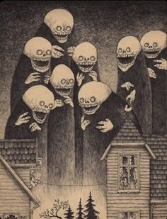 Edward Gorey is one of my favorite artists. What if he had illustrated Lovecraft's stories or created artwork with Lovecraftian themes? The art of John Kenn Mortensen might be the result. Art And Illustration, Illustrations, Edward Gorey, Monster Art, Monster Drawing, Arte Horror, Horror Art, Image Triste, Don Kenn