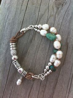 Freshwater Pearl Turquoise Silver Bracelet by connectionsbymaya, $38.00