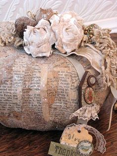 shabby fall pumpkin by jane. You could make one that lasts with a plastic pumpkin Autumn Decorating, Pumpkin Decorating, Fabric Pumpkins, Fall Pumpkins, Velvet Pumpkins, Fall Halloween, Halloween Crafts, Halloween Ideas, Shabby Chic Fall