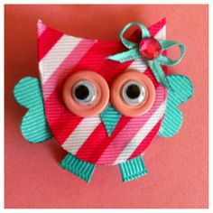 Owl Hair Clip, Alligator Clip, Ribbon Sculpture.