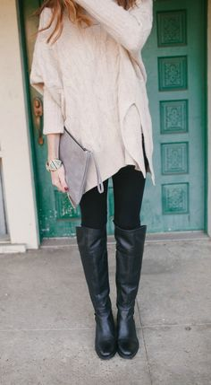 Oversized Sweater, Black Leggings, boots, fall outfit @artinthefind