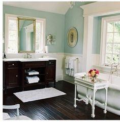 Neutral bathroom with dark vanity