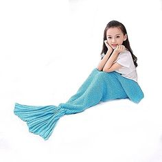 Mermaid Tail Blanket, Masall Hand Crochet Knitted Snuggle Warm Sofa Throw, All Seasons Soft Novelty Sleeping Bag for Kids Blue