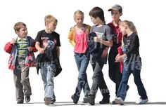 A group of children walking: