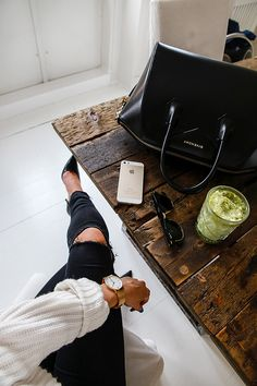 Boss lady essentials...Givenchy bag, iPhone, heels.