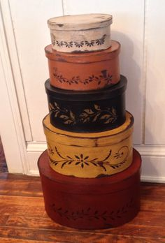 Primitive Shaker Boxes from the Hanway Mill House ! Reversible plain on the other side . 2 for the price of 1 from etsy !