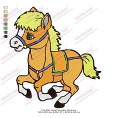 free cute baby animal embroidery designs | Product Code: Cute Baby Horse Embroidery Design