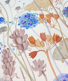 Angie Lewin is a lino print artist, wood engraver, screen printer and painter depicting the UK's natural flora in linocut and other limited edition prints. Watercolor Images, Watercolor Drawing, Watercolor Flowers, Botanical Illustration, Illustration Art, Floral Illustrations, Angie Lewin, A Level Art, Art Projects