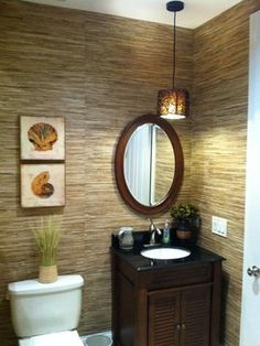 Bamboo Wallpaper Design Ideas, Pictures, Remodel and Decor Powder Room Decor, Powder Room Design, Powder Rooms, Tropical Design, Tropical Decor, Coastal Decor, Budget Bathroom, Small Bathroom, Bathroom Ideas
