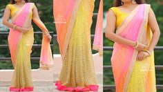 PV 3135 - Yellow and shaded netPrice - Rs 7000Party wear saree in Yellow glitter work net fabric for pleats combined with shaded sequin worked net and finished with pearl borderUnstitched blouse fabric - yellowFor Orders  please drop us an email to privacollective@gmail.com or call us at 9160560480/9989888510 01 September 2016 06 November 2016