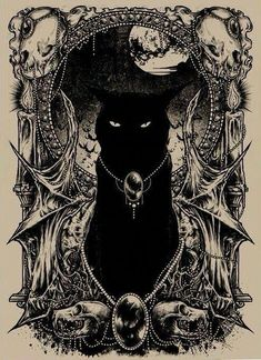 Gatos #blackcats Fantasy Kunst, Fantasy Art, Arte Obscura, Witch Art, Witch Painting, Gothic Art, Cat Tattoo, Halloween Art, Dark Art