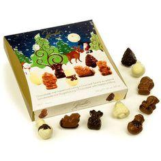 Boite de chocolats belges de Noël fourrés au praliné