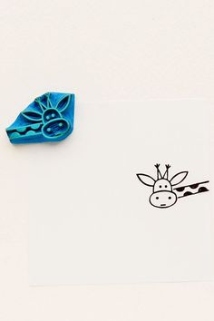 Funny Giraffe peek-a-boo stamp kids gift Around by WoodlandTale