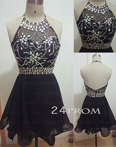 Black Backless Rhinestone Short Prom Dresses, Homecoming Dresses – 24prom