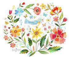 Magic Garden Art Print  Sticker aquarelle  par thewheatfield